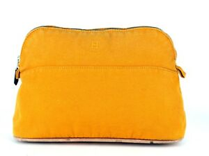 40abcb938749 Image is loading Authentic-HERMES-Bolide-Cosmetics-Pouch-25-Yellow-Canvas-
