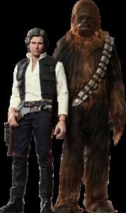 Estrella WARS Han Solo and Chewbacca Sixth Scale Acción Figura Hot Juguetes MMS261 & 262