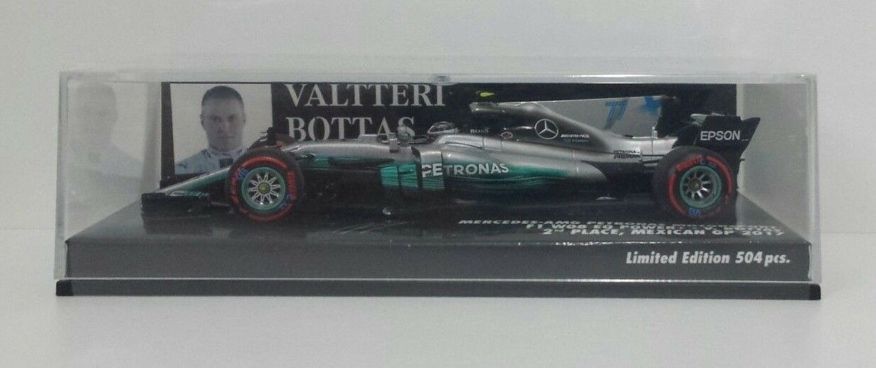 MINICHAMPS 1 43 VALTTERI BOTTAS F1 MERCEDES AMG W08 2ND PLACE GP MESSICO 2017
