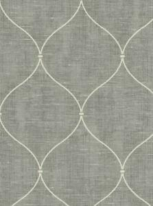 Wallpaper-Smooth-Designer-Ogee-Trellis-on-Gray-Faux-Weave
