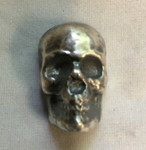 1-oz-Skull-Antique-finish-999-fine-silver-bar-034-Yeager-039-s-Poured-Silver-034-YPS