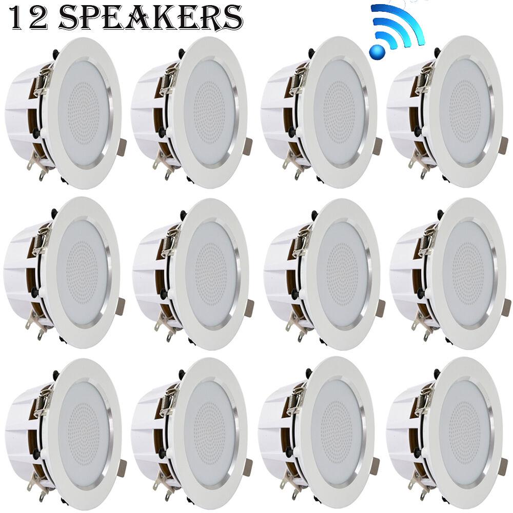 (12) 3'' blueetooth Ceiling Wall Speaker Kit,Aluminum Frame w  Built-in LED Light