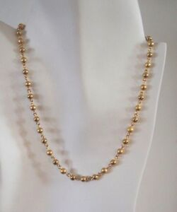14KTGOLD-BY-THE-INCH-4MM-GOLD-BEADSCHAIN-NECKLACE-BRACELET-14KT-GOLD-CLAD-BONDED