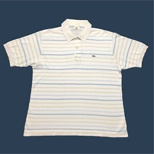 Mens-Vintage-Lacoste-Polo-Shirt-Large-5-White-Striped-Short-Sleeve