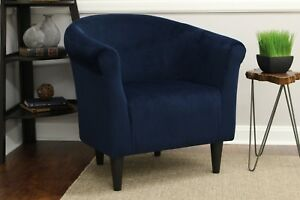 Upholstered Armchair Club Seat Barrel Arm Chair Accent Modern Furniture Navy