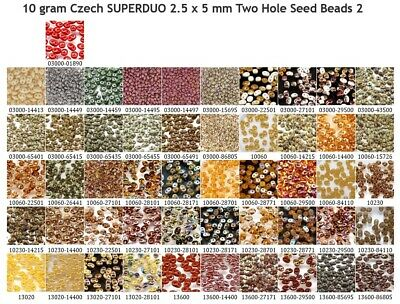 CLEARANCE 10 g or 24 g Czech SUPERDUO 2.5x5 mm Two Hole Seed Beads Mixes 2