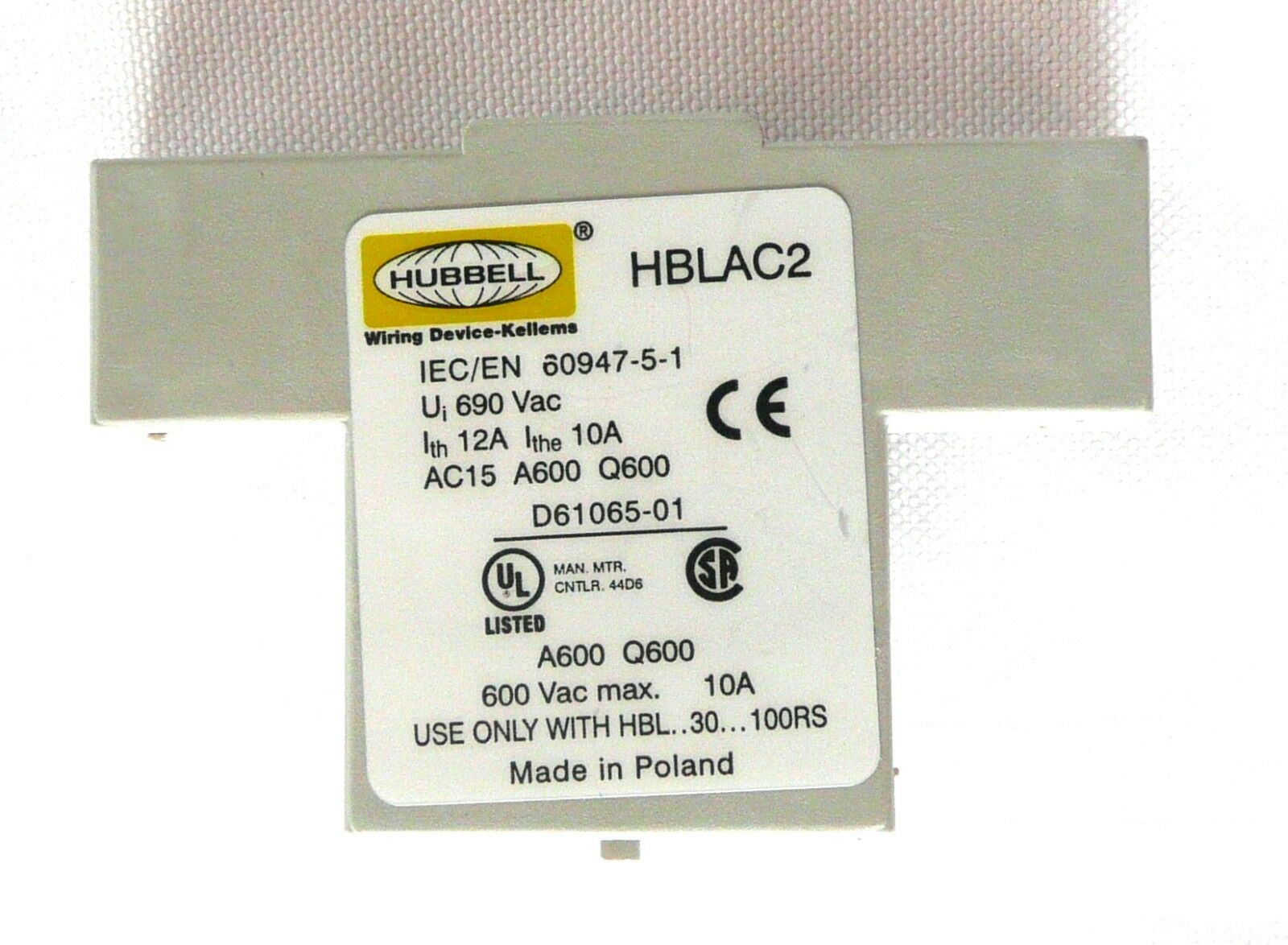 Hubbell HBLAC2 Auxiliary Contact 10A 600VAC