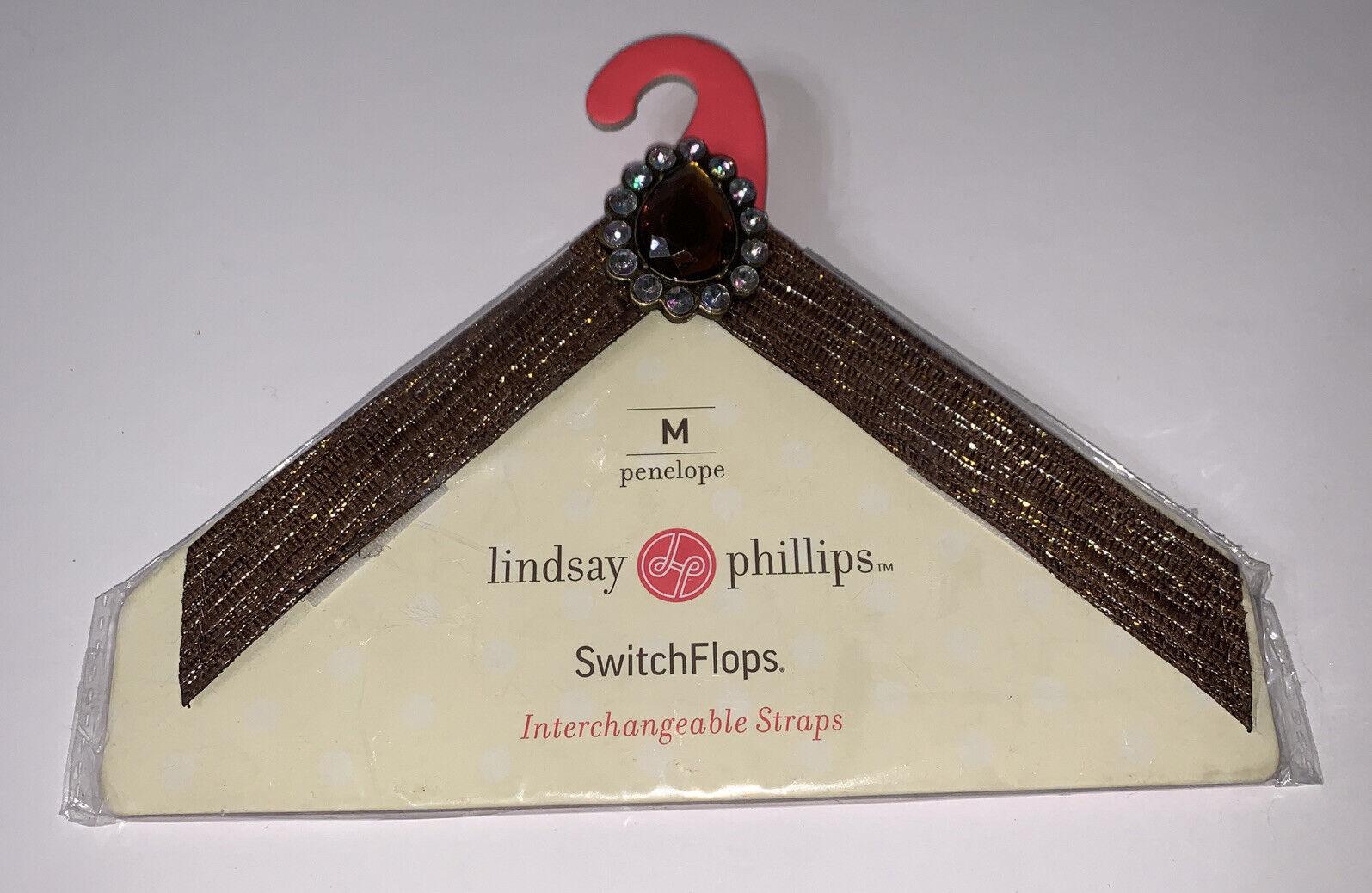 New NIP Lindsay Phillips Switchflop Straps Penelope Sz M 7/8 Brown Faux Stones