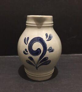 "Vintage Blue Pottery Creamer Milk Cruet Syrup Pitcher 5.25"" High - Incised Mark"