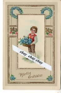 Early 1900 Beautiful Antique Greetings Postcard Boy Flowers Sweden Swedish Ebay