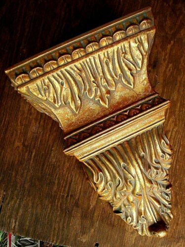 Vintage BAROQUE GOLD LEAF /& VERDE WALL SCONCE SHELF Large New Old Store Stock