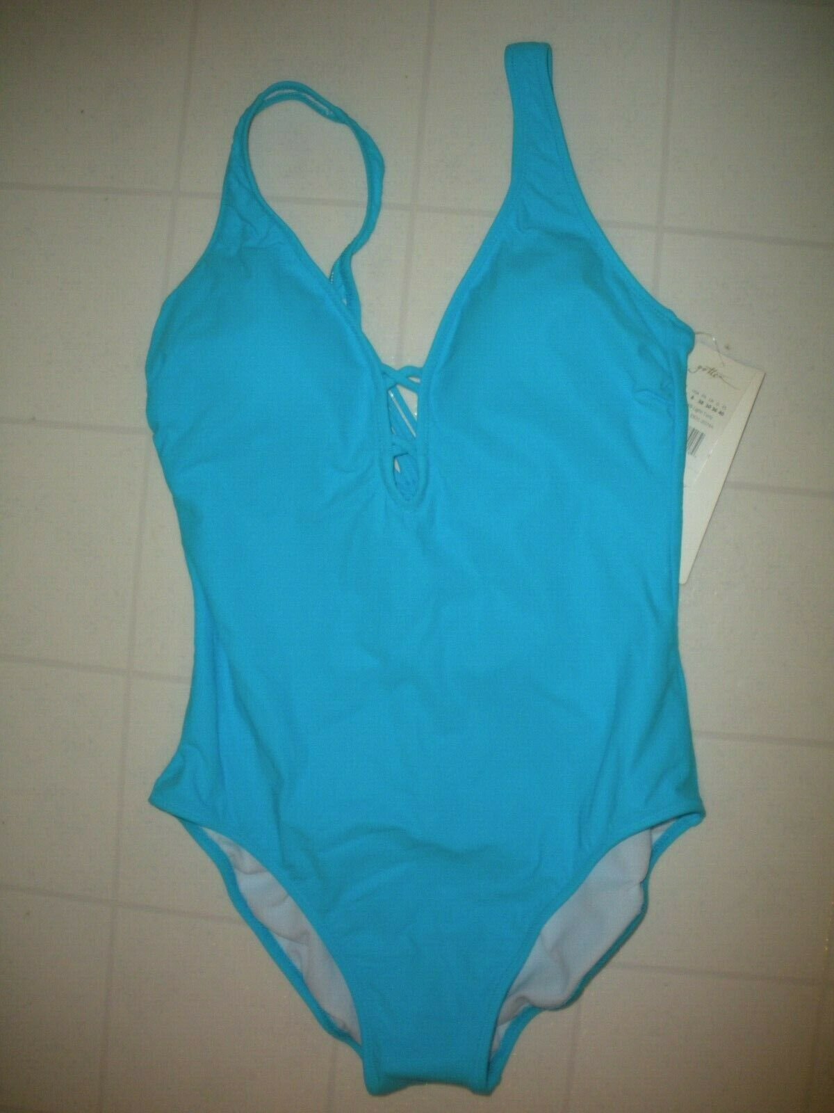 Profile by Gottex 2018 Light Turquoise Java 1 PC Plunge Swimsuit Size 8 NWT