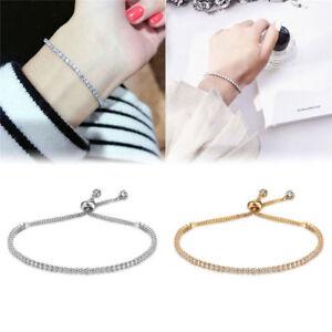 Korean-Style-Women-039-s-Rhinestone-Crystal-Bracelet-Adjustable-Bangle-Cuff-Jewelry