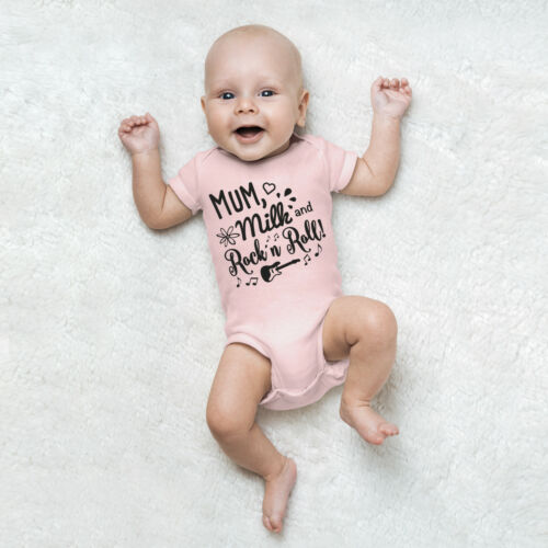 "JUNIWORDS Babybody Kurzarm /""Mum Milk /& Rock/"" 100/% BW Wähle Farbe /& Größe Junge"