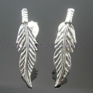 Image Is Loading 925 Sterling Silver Feather Or Hummingbird Stud Earrings