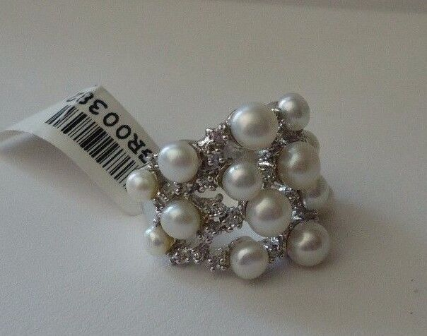 argentoo Sterling 925 Perla Anello Anello Anello W  1 Ct Laboratrio Diamanti & Bianche   Sz 5 - d12ce6