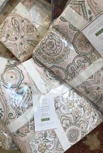 Pottery-Barn-Anya-Duvet-Cover-Blush-Queen-2-Euro-Shams-Paisley-Medallion-New