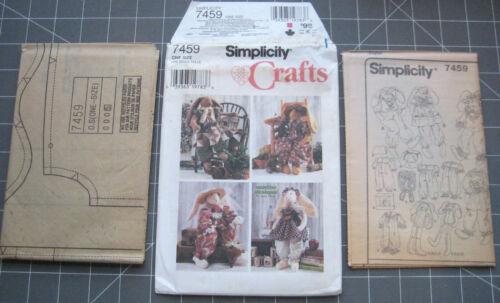 """Primitive Homespun 24/"""" Rabbit with Clothes Simplicity 7459 Jumpsuit Uncut"""