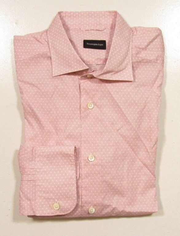 Ermenegildo Zegna Men's Long Sleeve Pink Diamond Printed Button Front Shirt