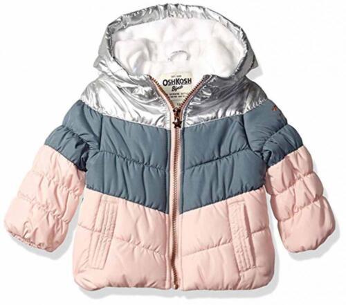 Osh Kosh B/'gosh Infant Girls Pink /& Gray Puffer Jacket Size 12M 18M 24M