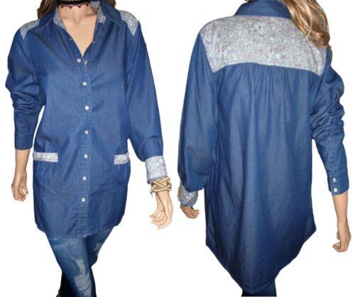 Ellos Ladies Womans Denim Look Floral Long Work Top Tunic Blouse Size 14 20 UK