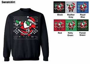 Dabbing Santa Crew neck Sweatshirt Ugly Christmas Sweater S-5XL ...