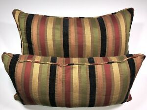 Details about Throw Pillows Set Of 2 - 12x24 Inch Stiped Gold, Brown,  Black, Red Sofa Decor