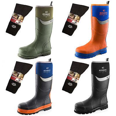 Buckler Waterproof Safety Wellington Boots Work Wellies /& 3 Pairs of Boot Socks
