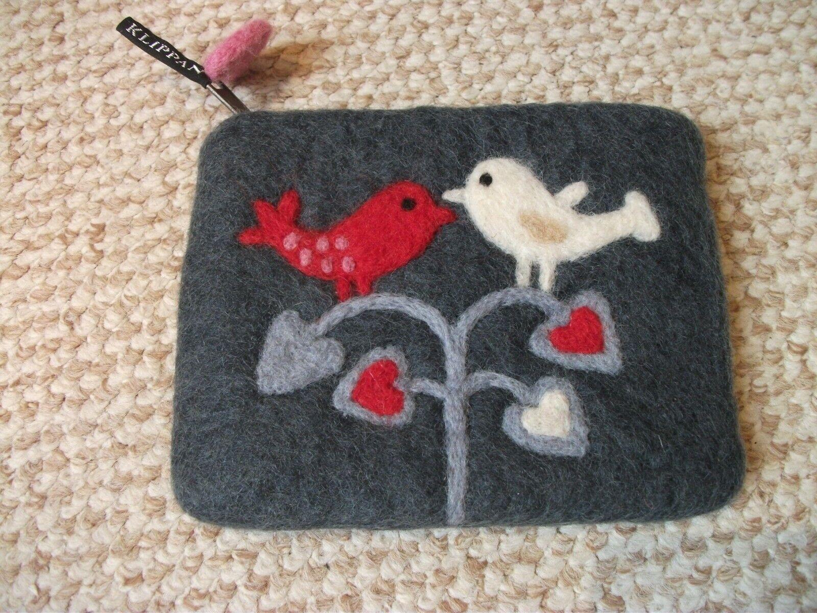 Klippan felted wool purse love birds / felted coin purse