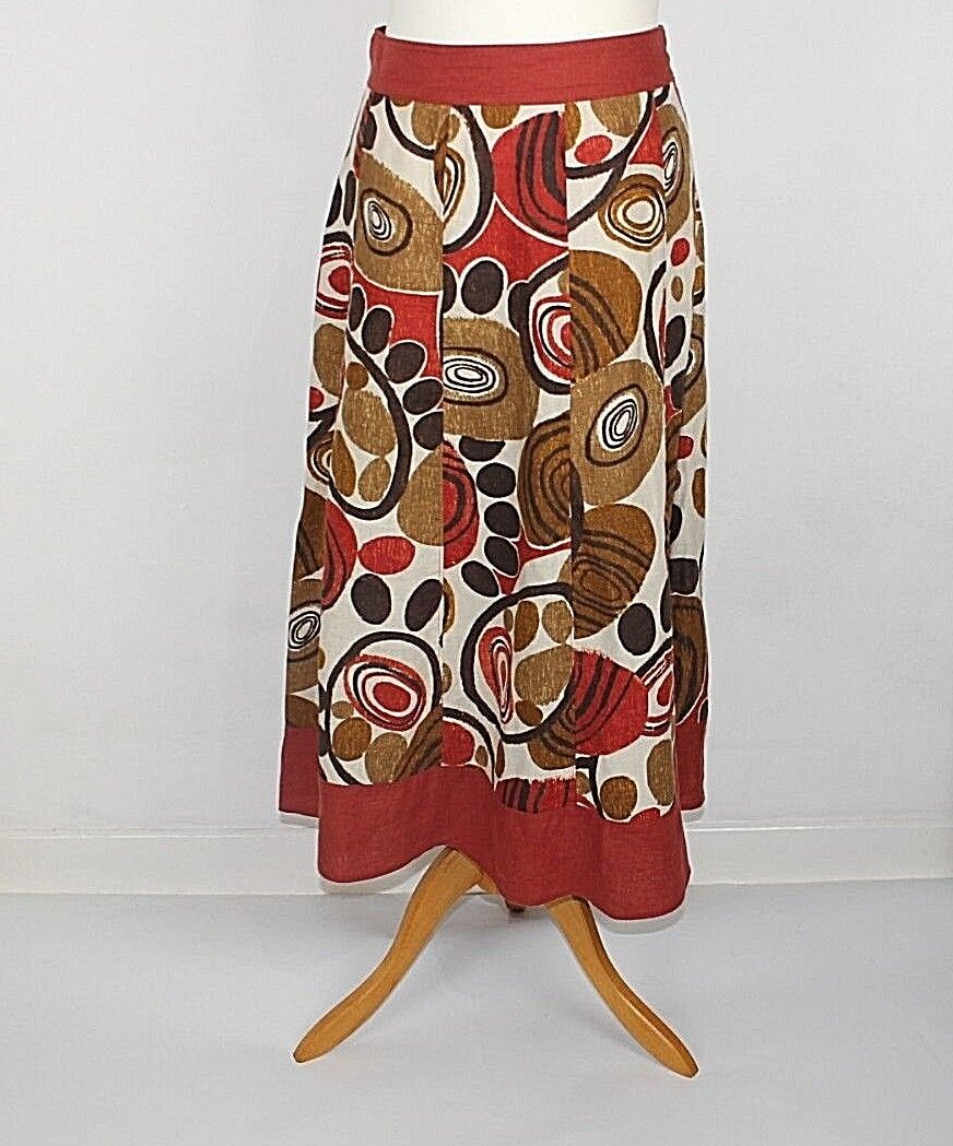 Per Una ladies skirt 12 Linen Brown Boho Funky pattern Party Summer colour 49a