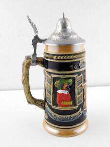 Lusterware Beer Stein Meistertrunk Rothenburgot West Germany Zinn Pewter Lid A+
