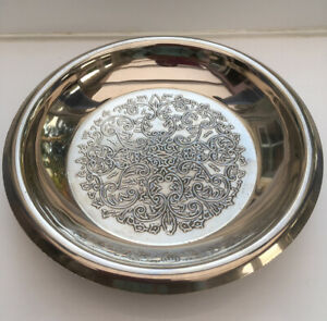 Vintage Silver Tone Dish Made In England. Embossed. Feet. 7x1.25 Inch