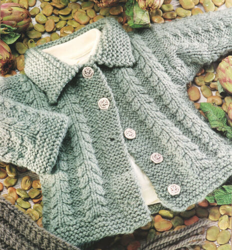 Baby//Toddler Cable Cardigan with Collar  2-10 years Chunky Knitting Pattern