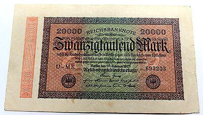 1923 German Reichsbanknote 20000 Mark  VERY FINE BERLIN   OVER 90 YEARS OLD