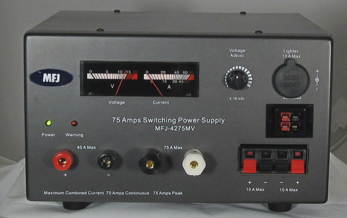 MFJ-4275MV Heavy Duty 75A Switching Power Supply with Adj. Voltage and Meters. Buy it now for 299.95