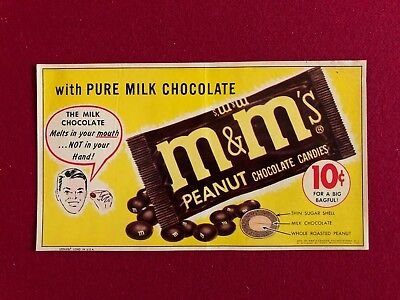 "1950/'s CHUNKY MILK CHOCOLATE Unused 9/"" x 5/"" Vending Machine Sticker Nice!"