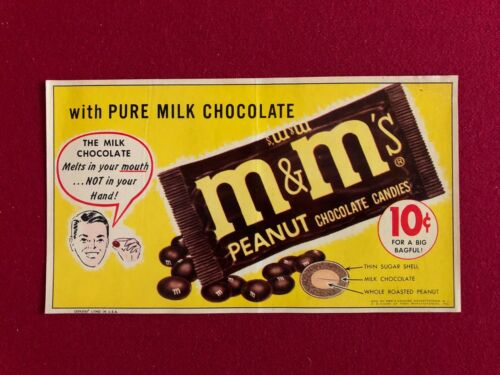 1950's,  M&M's, Un-Used Vending Machine Sticker - 5 x 8