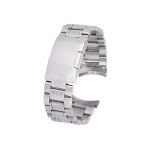 Silber-massiv-Edelstahl-Links-Uhrenarmband-Strap-gebogene-Ende-Faltschliesse-OE