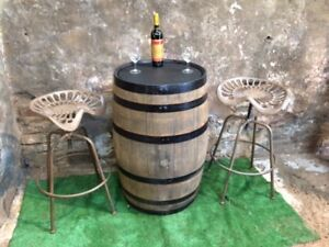 Astounding Details About Oak Barrel Bar Table And 2 Metal Rustic Brown Bar Stools Ncnpc Chair Design For Home Ncnpcorg