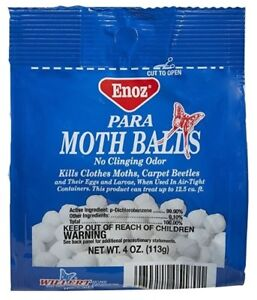 Details about ENOZ PARA MOTH BALLS Kills Clothes Moths Carpet Beetles No  Clinging Odor 4oz D07