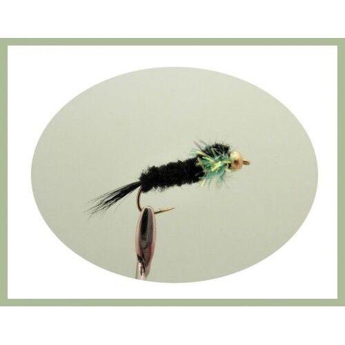 Trout Flies 6 pack Goldhead Montanas Longshank Green Fritz Collar Montana Nymph