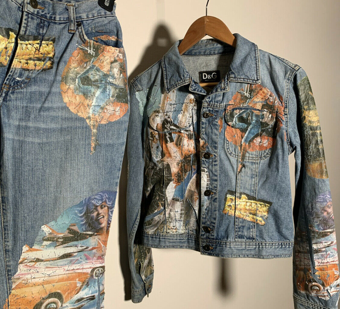 Dolce Gabbana Jean Jacket Pants Vintage 90's Prin… - image 4