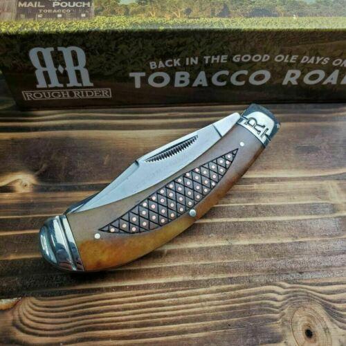 RR1892 Couteau Canif Rough Rider Tobacco Road 2 Lames Acier 440 Manche Os