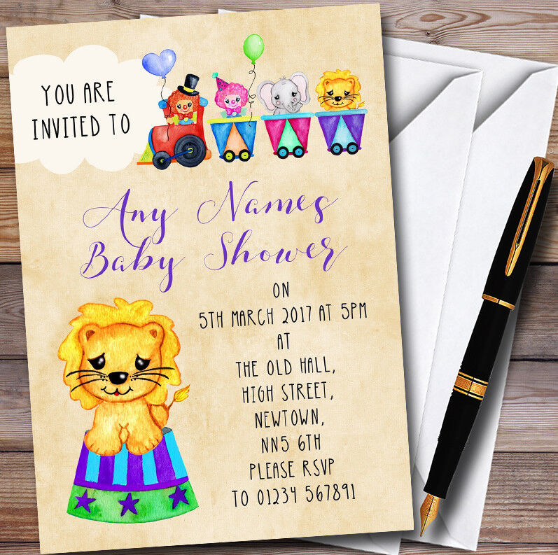 Jolie aquarelle les animaux de cirque Personnalisé Baby Invitations Shower Invitations Baby 9606a0