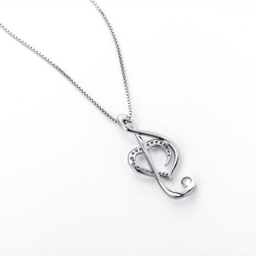 argent sterling 925 Treble Clef Musique... musique Note collier pendentif