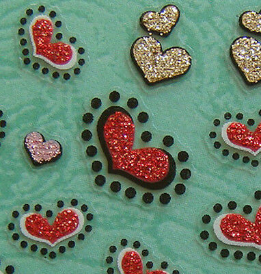 Nail Art 3D Sticker Glitter Gold Pink Red Hearts w/ Dot 65pcs per sheet