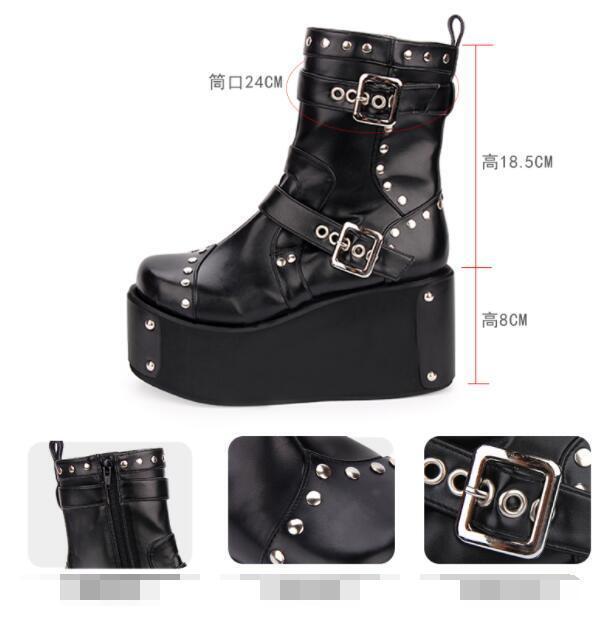 femmes Platform Wedge Wedge Wedge Heels Rivet Ankle bottes Buckle Strap Punk Lolita chaussures sz aa38af