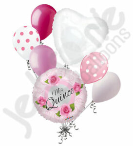 Image Is Loading 7 Pc Mis Quince Pink Roses Happy Birthday