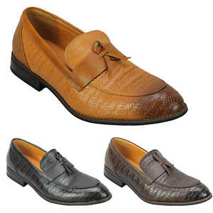 Mens Leather Lined Slip On Loafers Woven Patterned Smart Casual Retro Shoes Uk Ebay