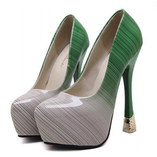Pumps Frau 15 cm Plateau grün grau bicolor Stilett simil Leder CW452